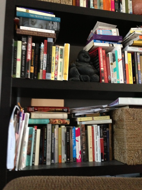 Exhibit A: Overflowing bookcase